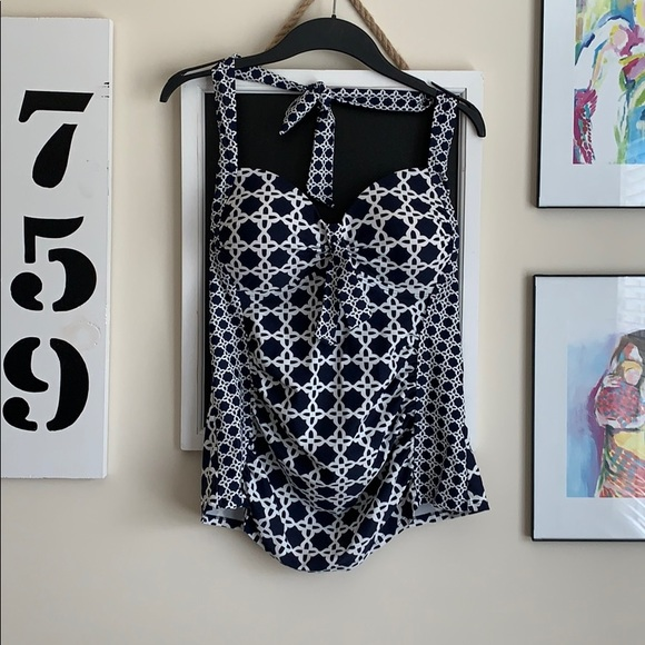 Merona Other - Navy/White Patterned Tankini Top